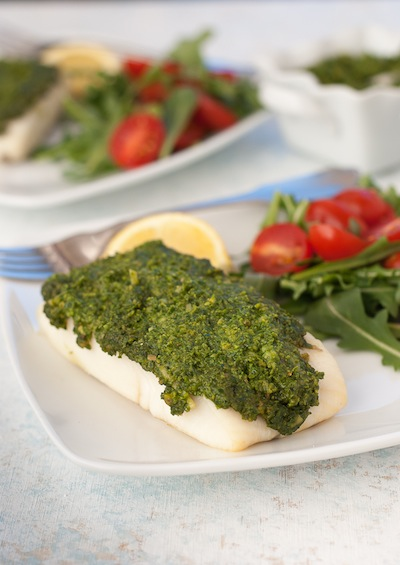 Grilled Halibut with Pistachio Kale Pesto
